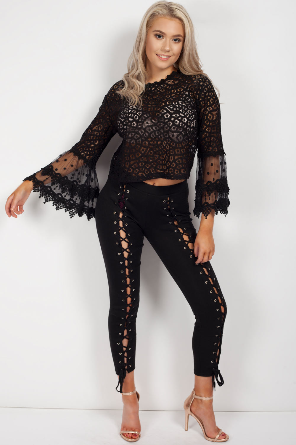long sleeve lace crop top black