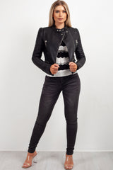 womens black leather look jacket