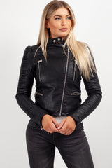 black faux leather jacket with silver zips womens