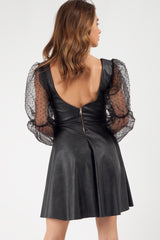 black leatherette dress uk