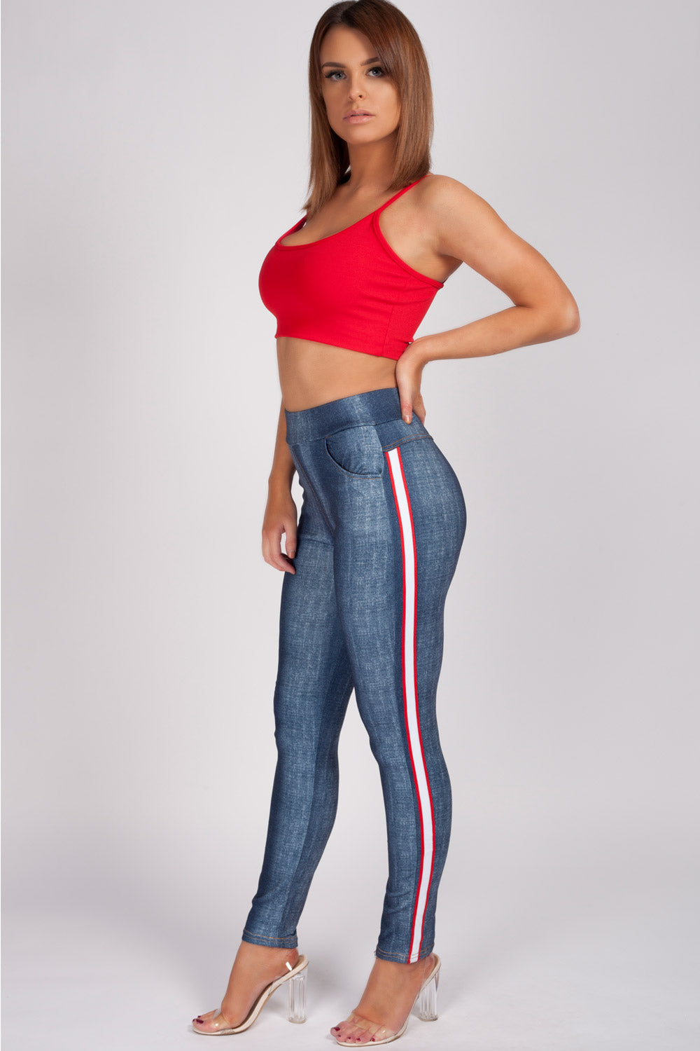 Ženska Red Side Stripe Skinny hlače sloga Uk-5543