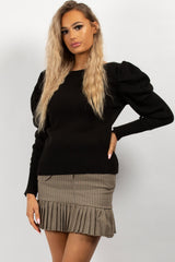 black ruched sleeve jumper