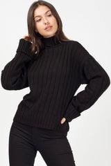womens black high neck jumper uk