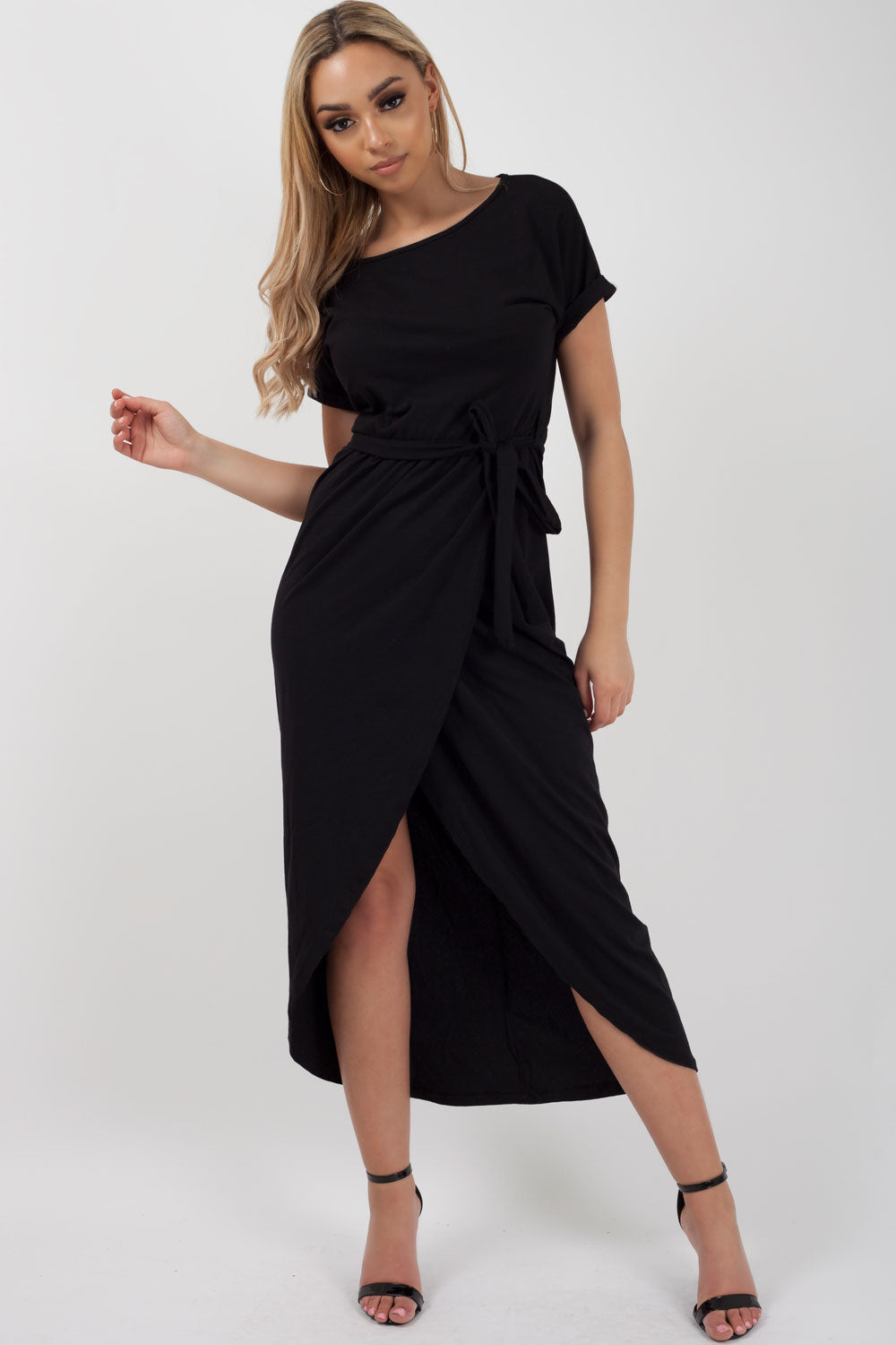 black wrap maxi dress uk