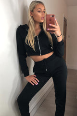 black joggers and hoodie lounge set petite