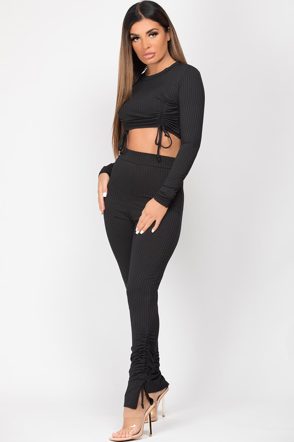 ruched front ribbed loungewear set black