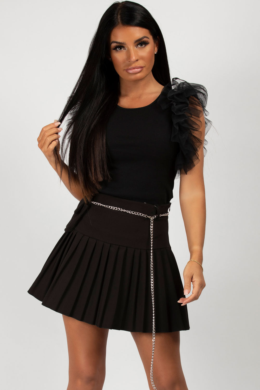 black ruffle sleeve bodysuit