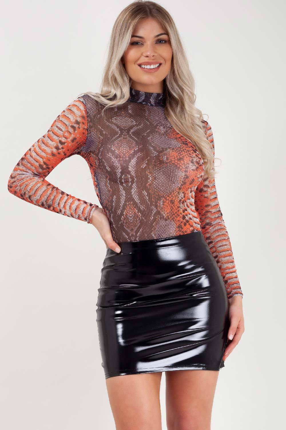 orange snake print long sleeve bodysuit