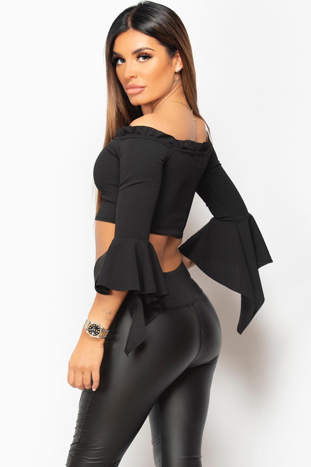 black dressy off shoulder crop top