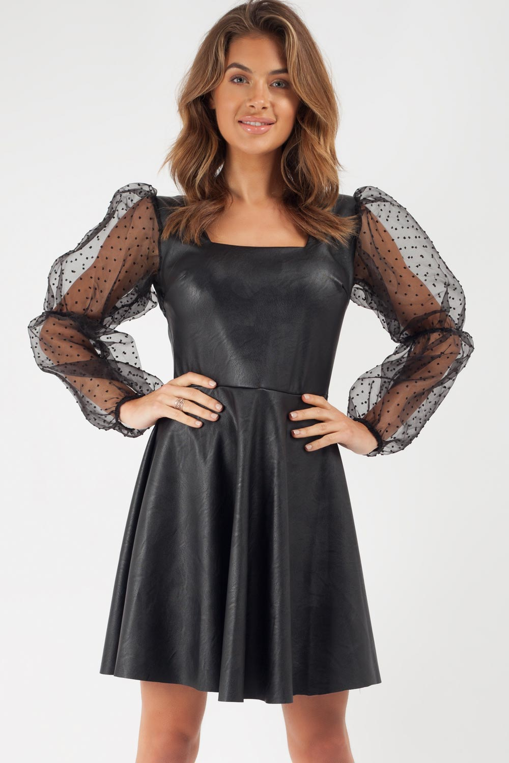 organza sleeve leatherette dress uk