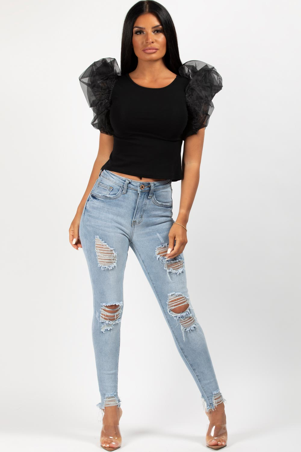 black organza puff sleeve t shirt