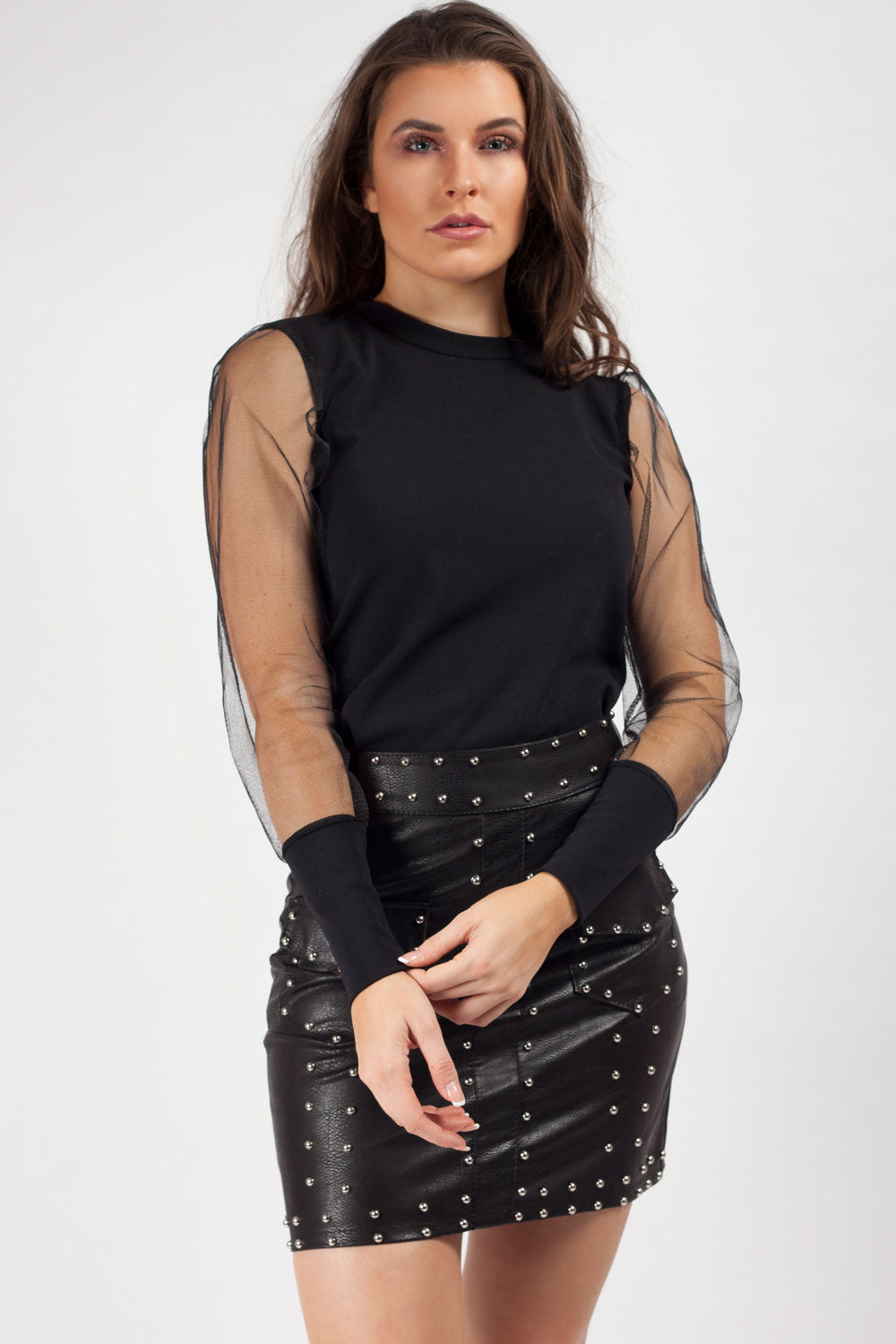 Black Sheer Long Puff Sleeve Top
