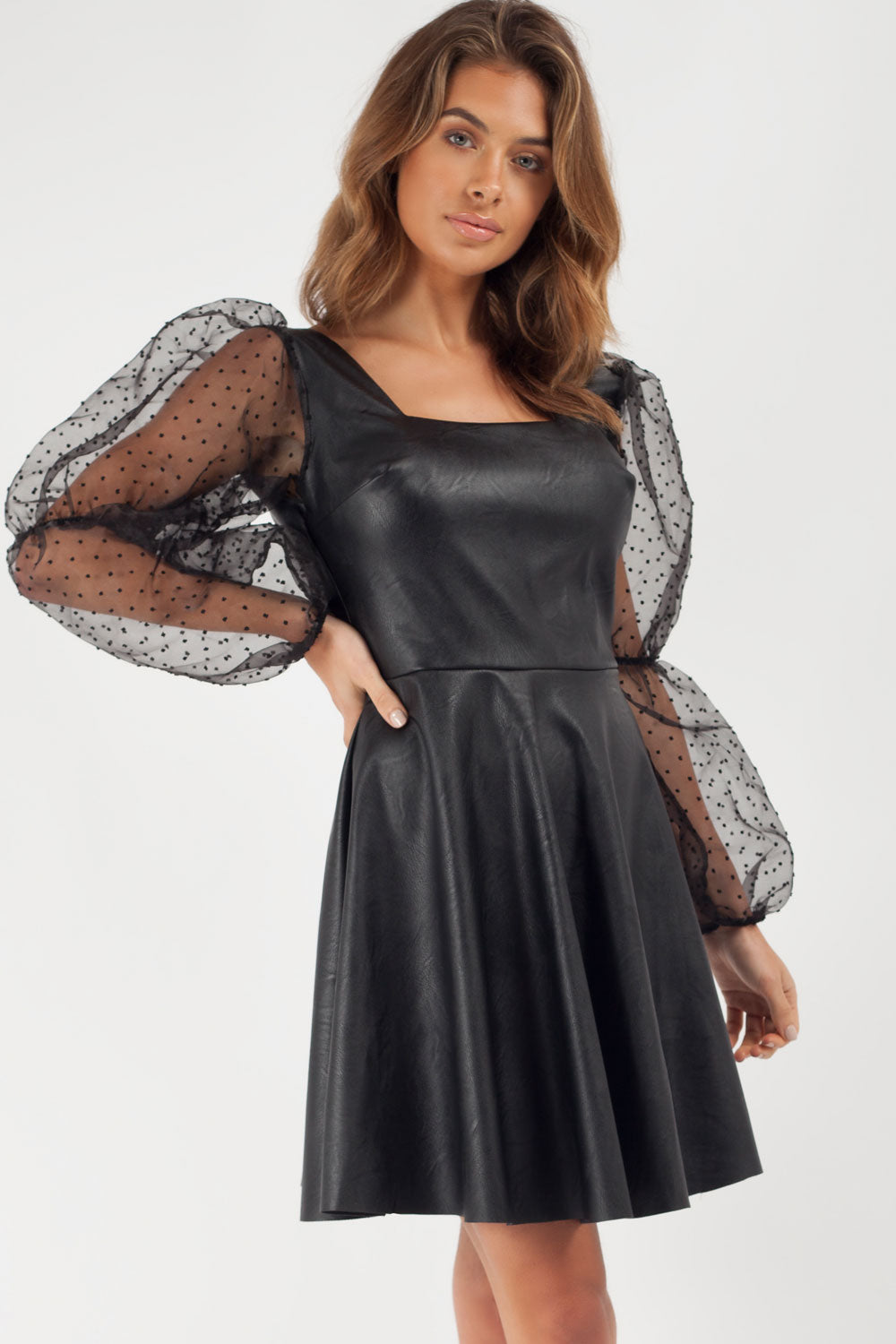 black faux leather skater dress