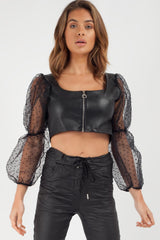 black polka dot puff sleeve leather look crop top