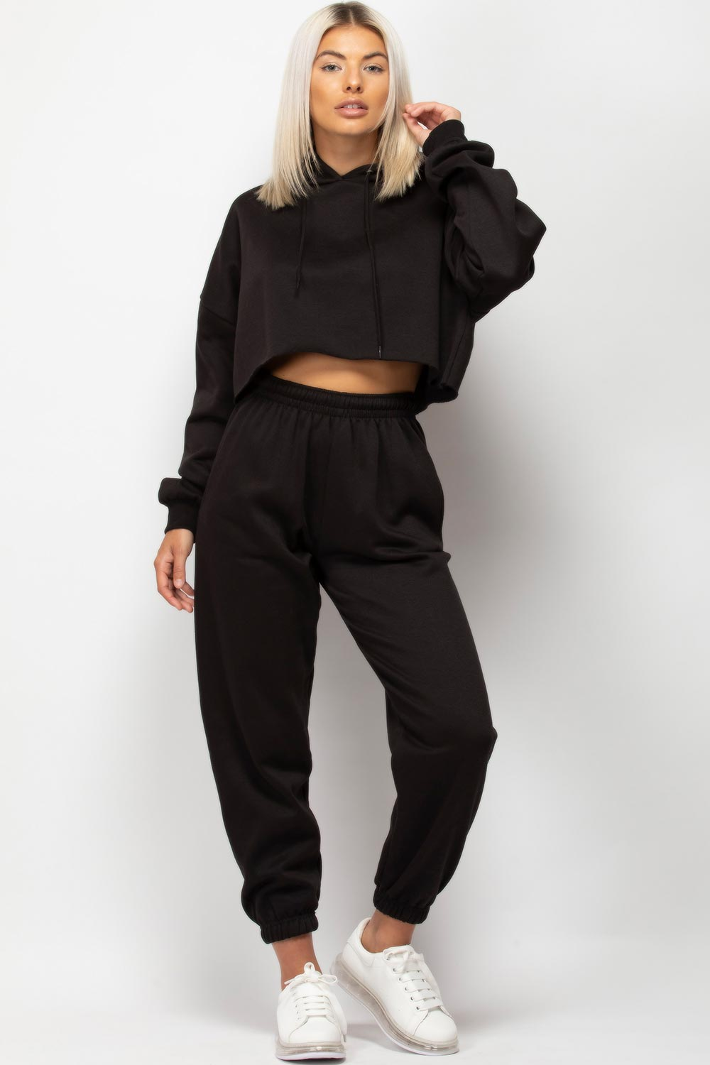 black joggers and hoodie lounge set