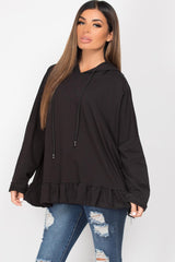 black hooded sweatshirt with frill hem