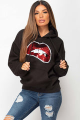 black sequin lips hoodie womens