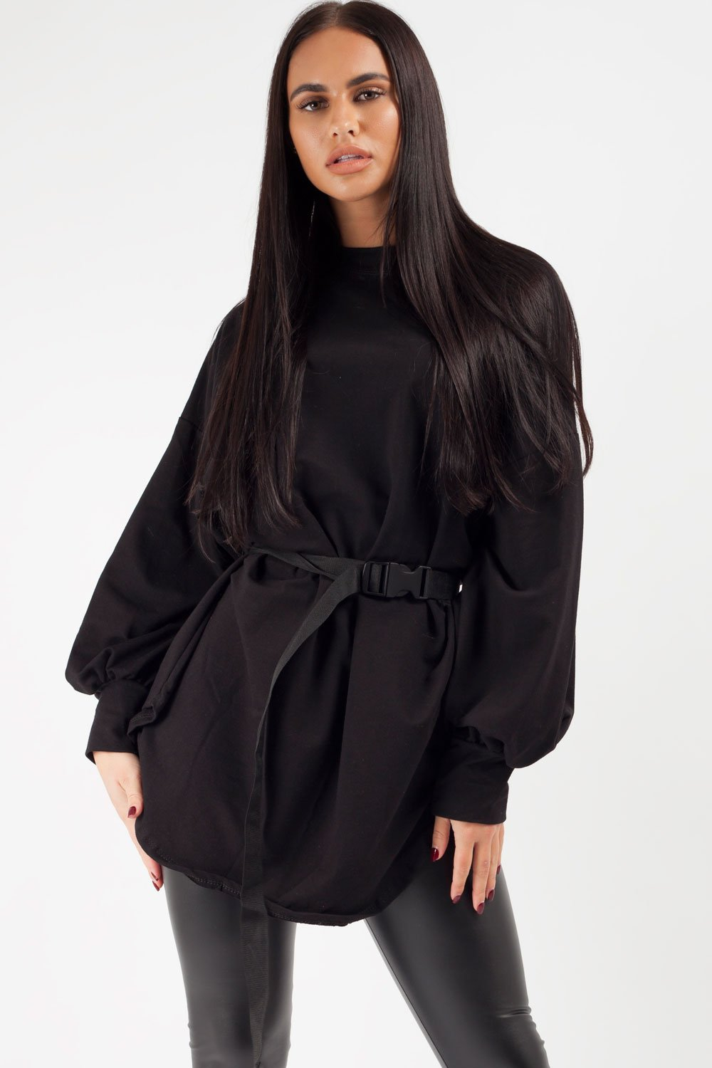 black oversized sweatshirt with utility belt