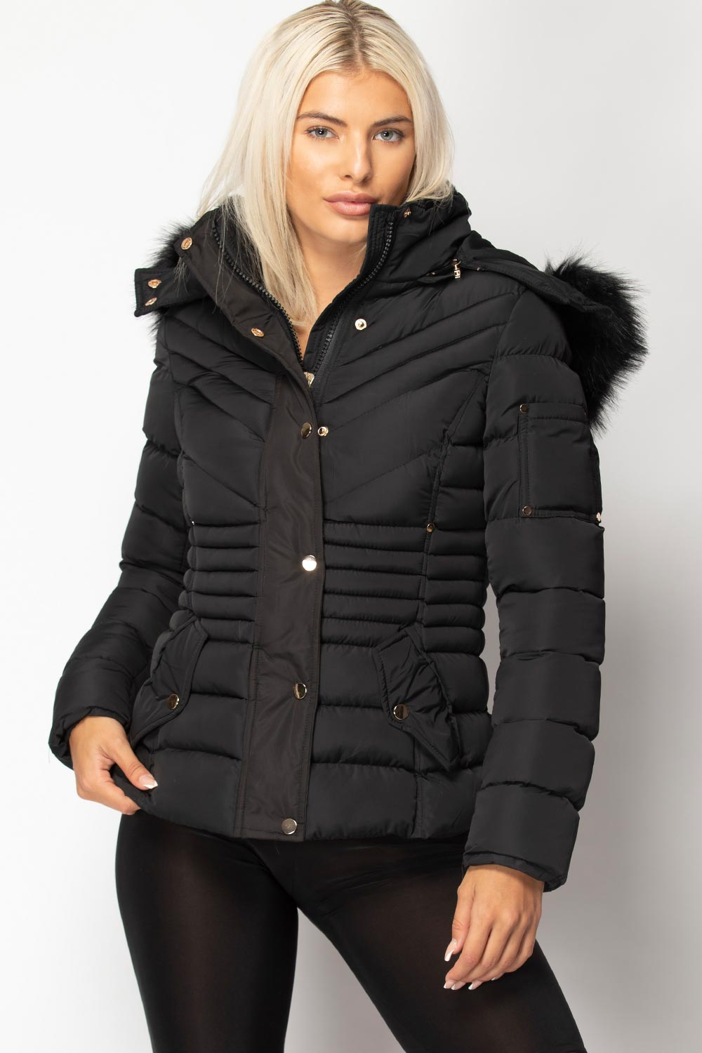 black puffer coat with fur hood uk womens