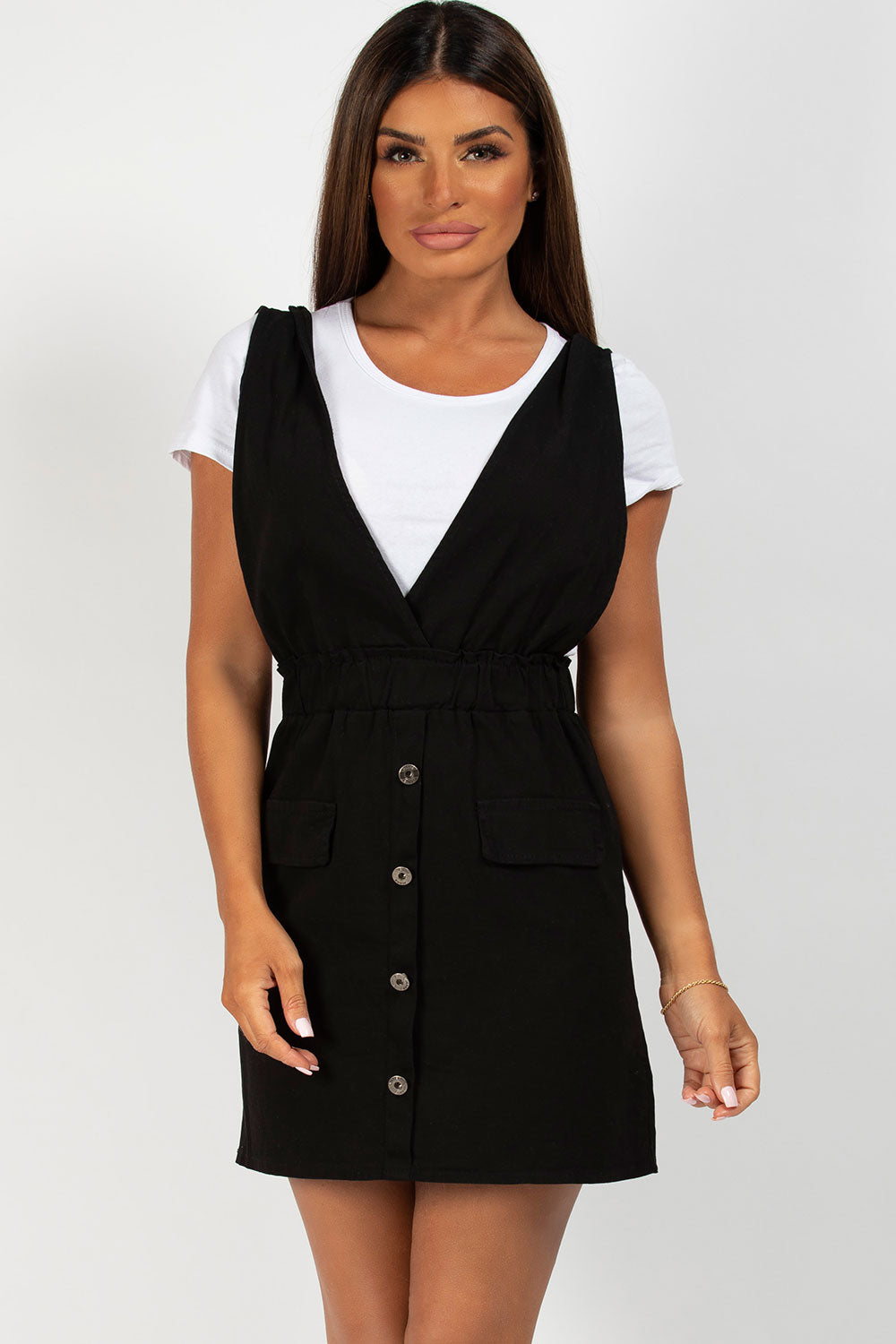 button front black pinafore dress