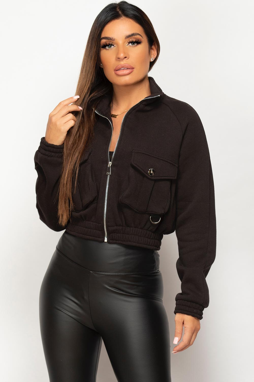 black crop pocket front jacket