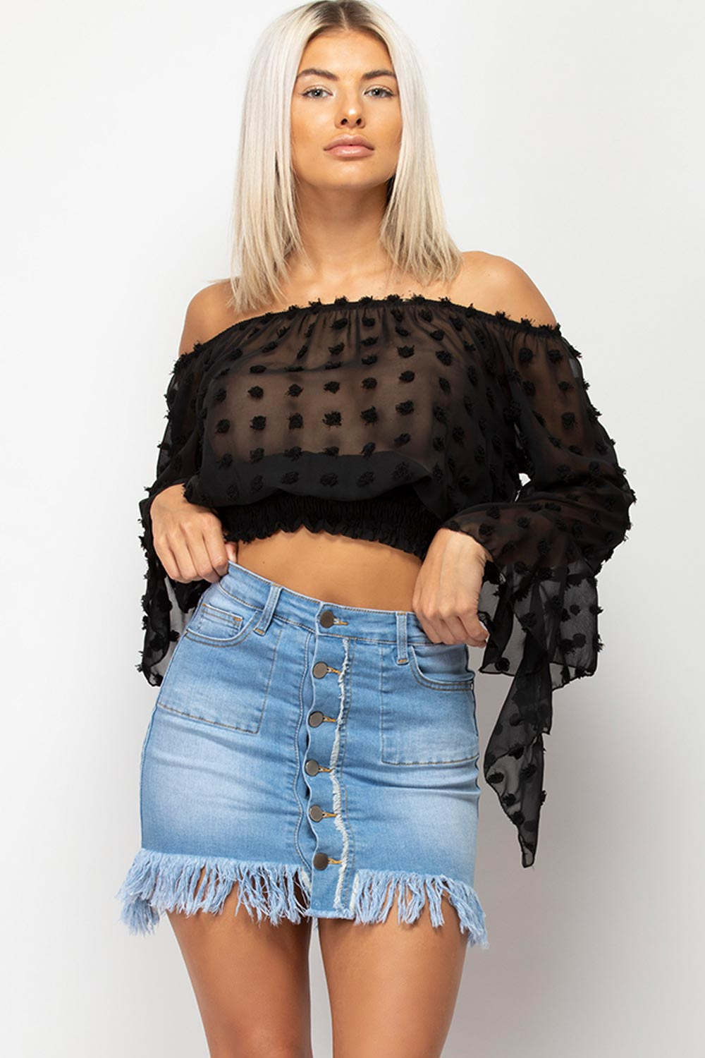 polka dot off shoulder crop blouse