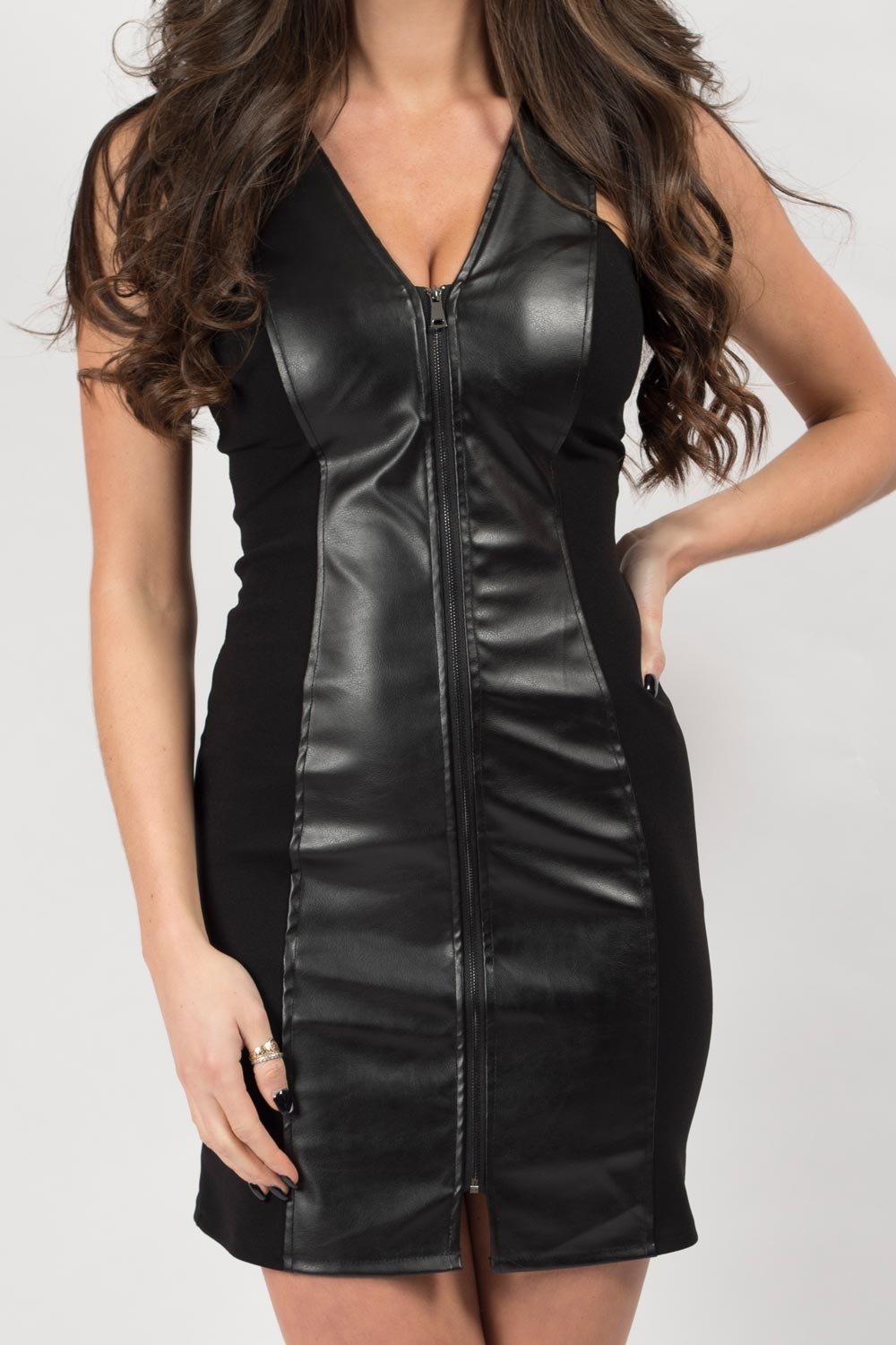 little black pu dress