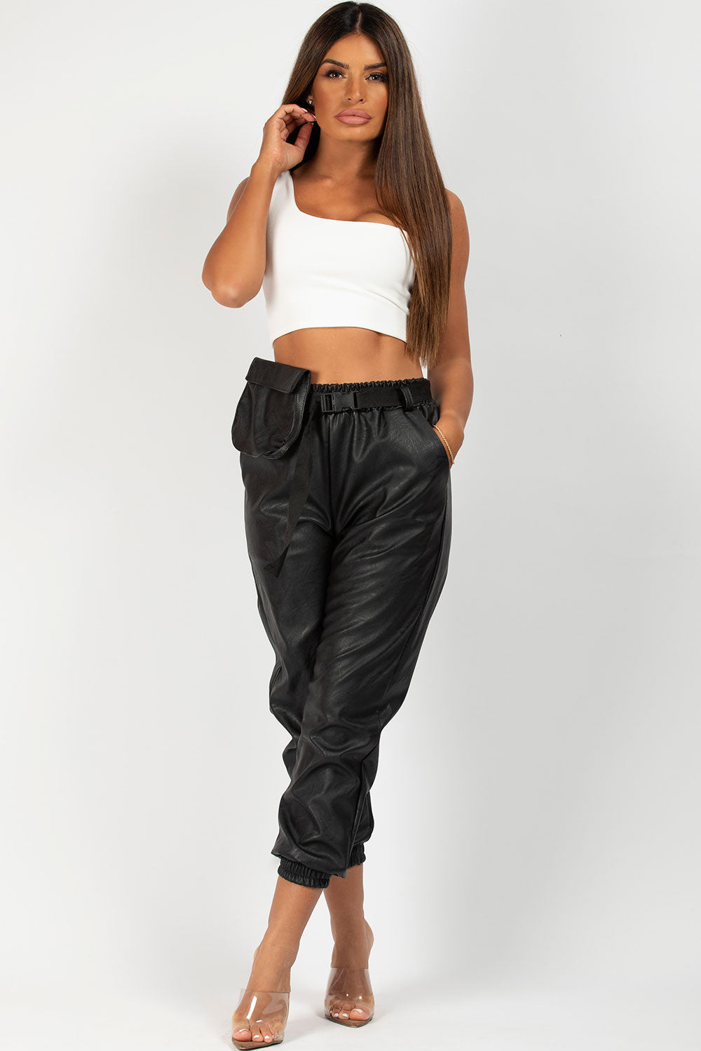 black pu joggers with utility belt and purse