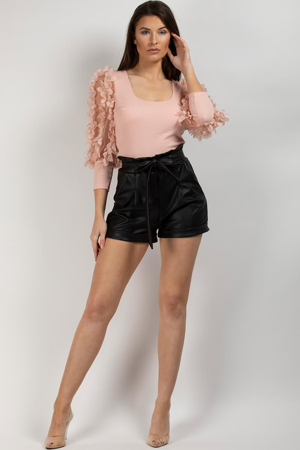 high waisted paperbag shorts black