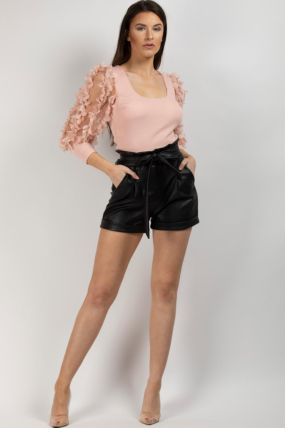 black pu paperbag high waisted shorts