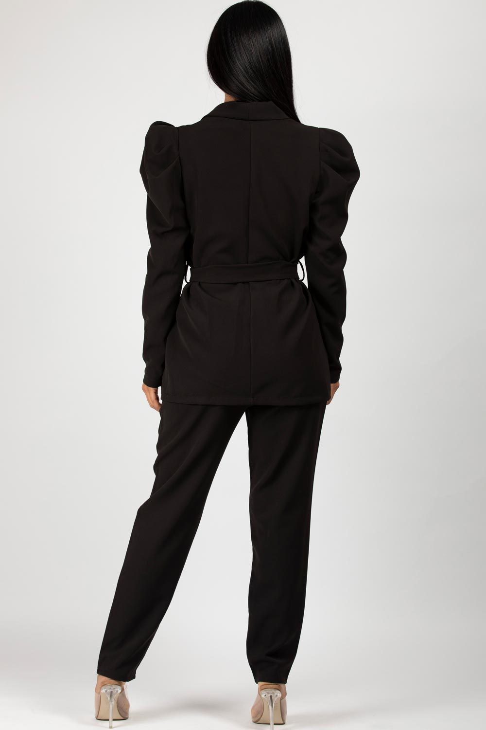 puff sleeve blazer suit black