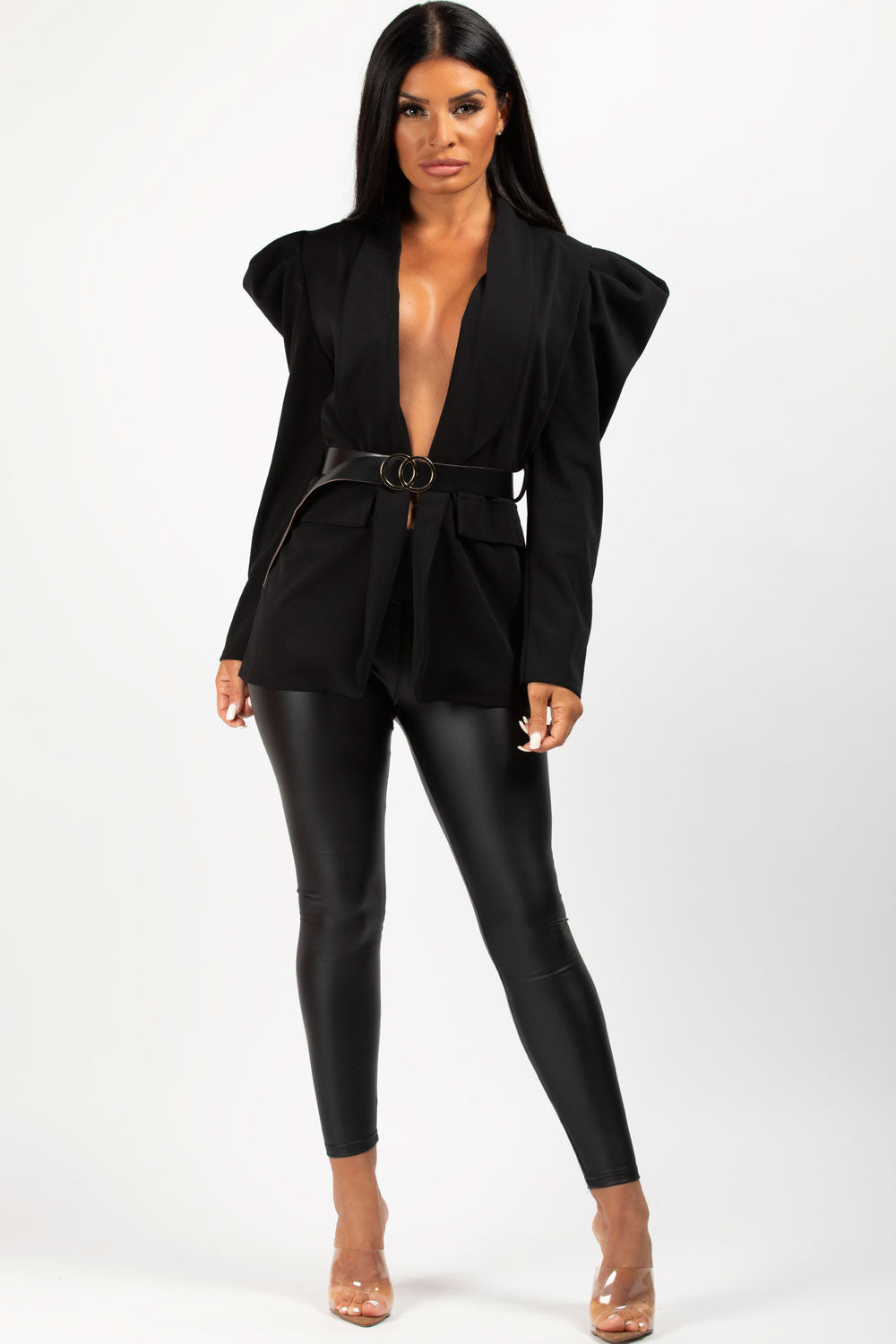 black puff sleeve blazer with belt