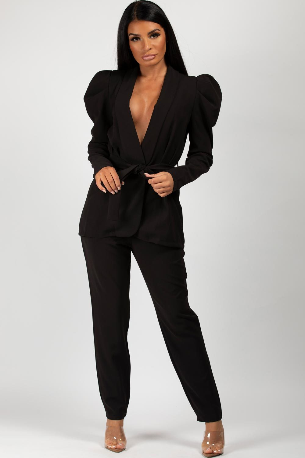 Puff sleeve blazer and trousers set