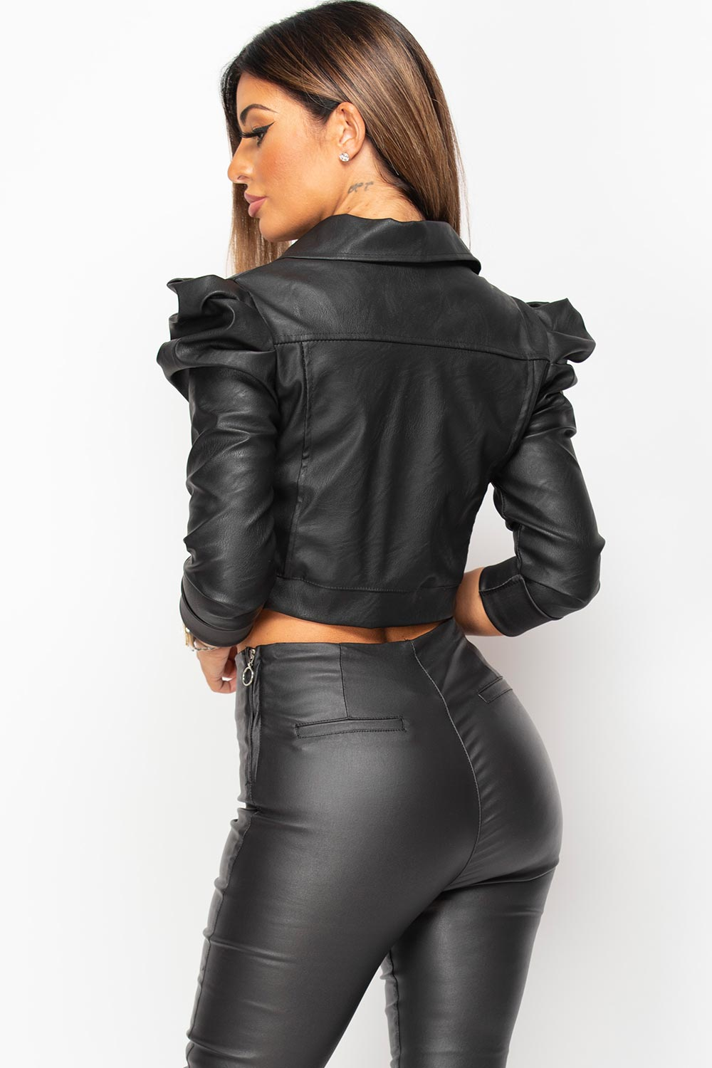 black faux leather puff sleeve crop jacket