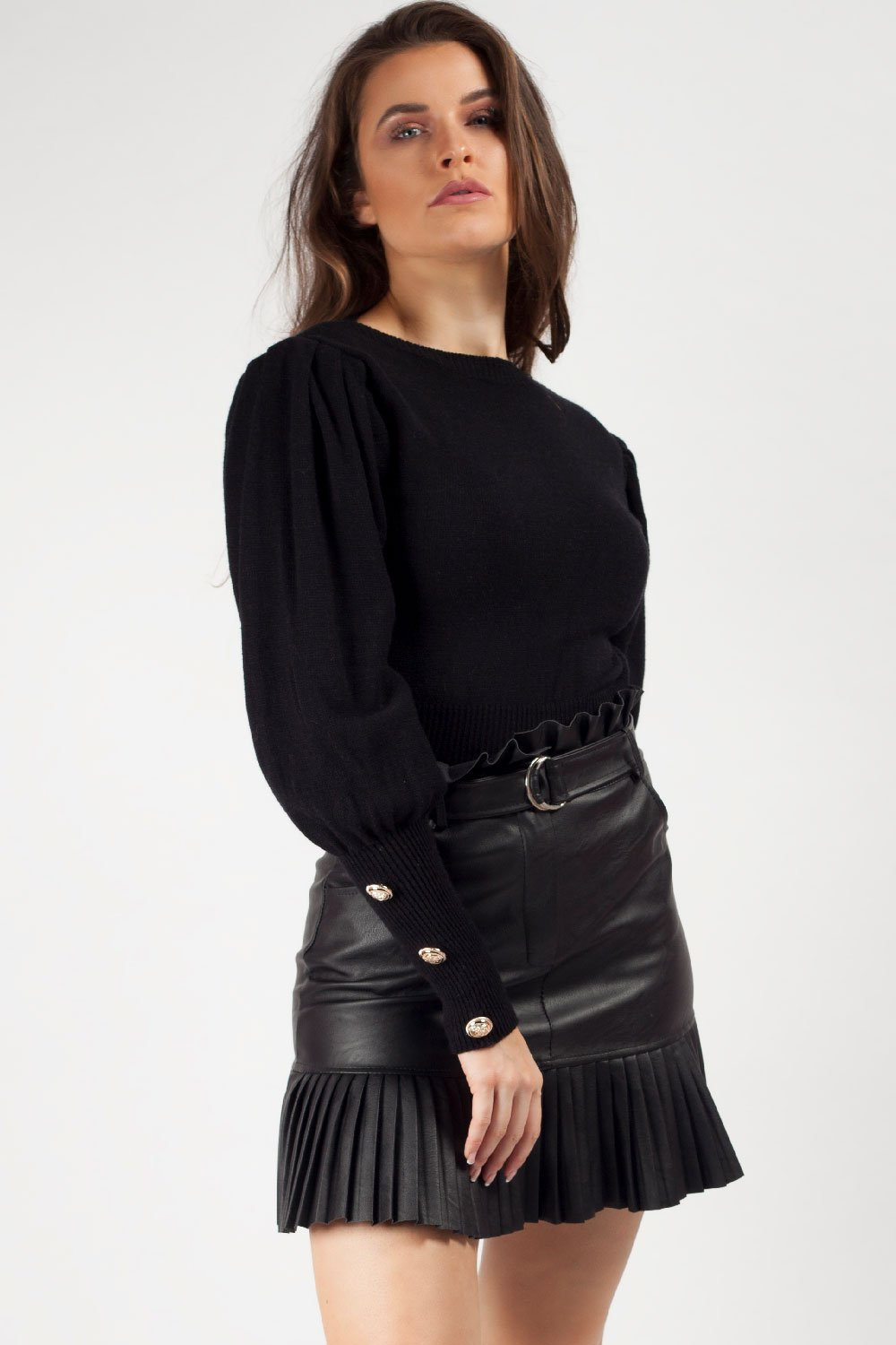 puff sleeve jumper black uk