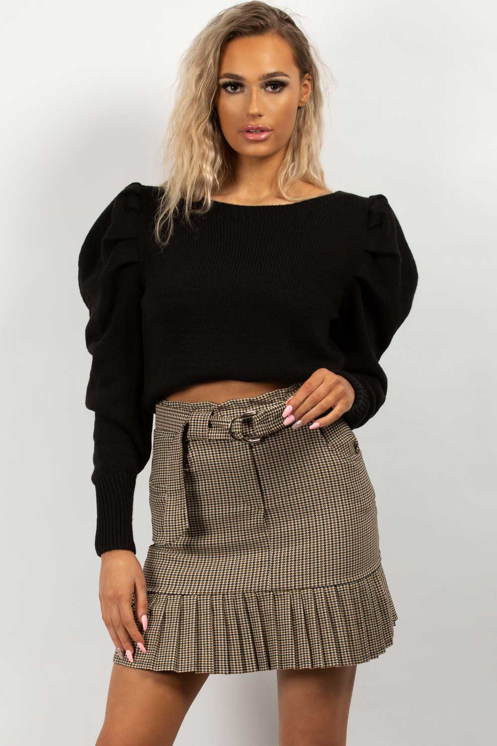 pleated belted check mini skirt