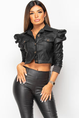 black puff sleeve faux leather jacket womens