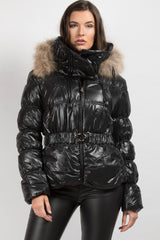 black shiny puffer coat with real fur hood