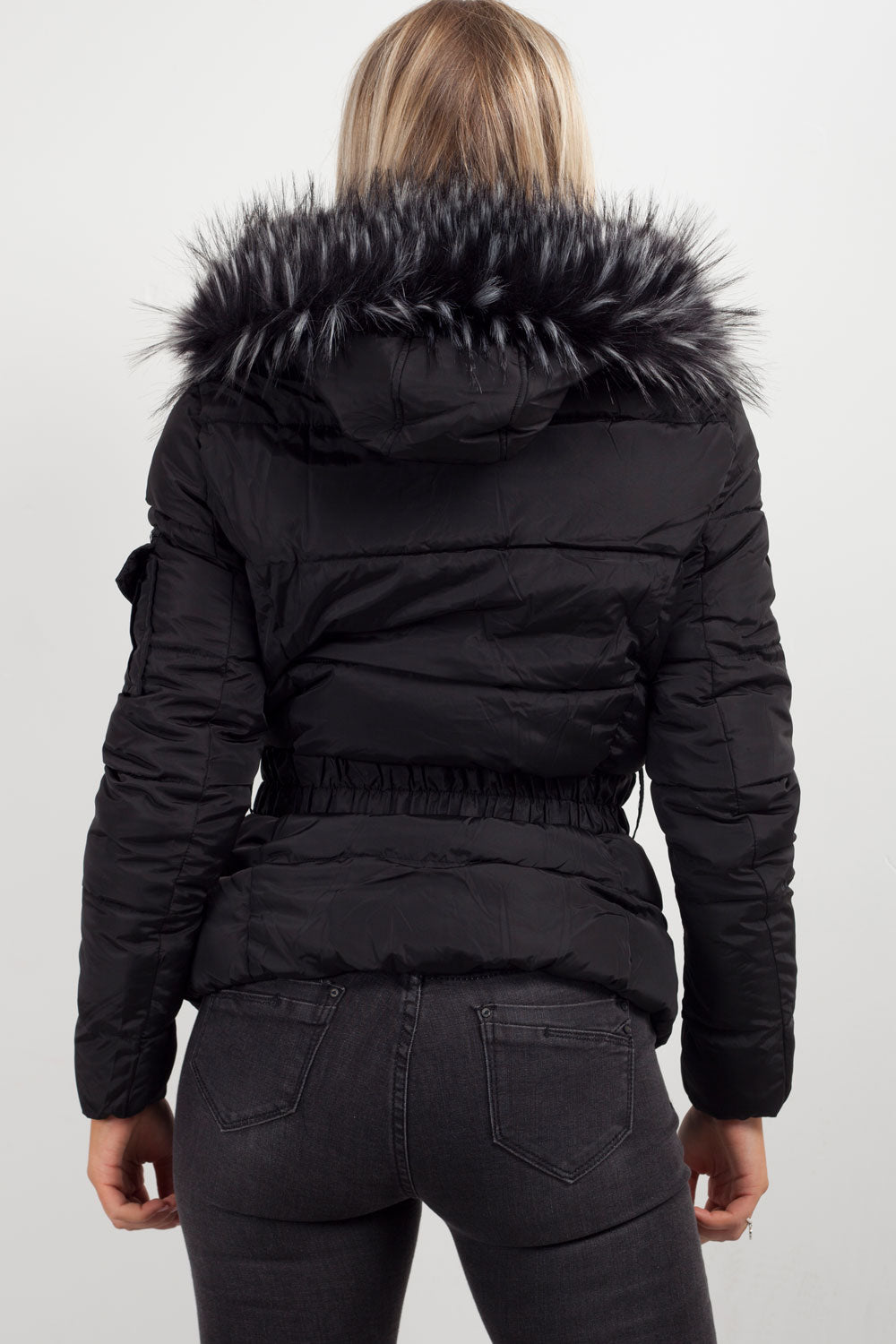 puffer coat with faux fur hood black