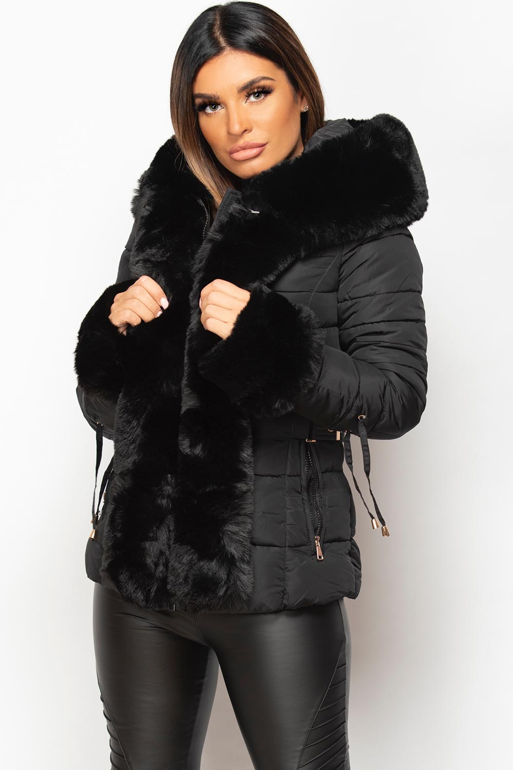 faux fur hooded puffer padded jacket womens