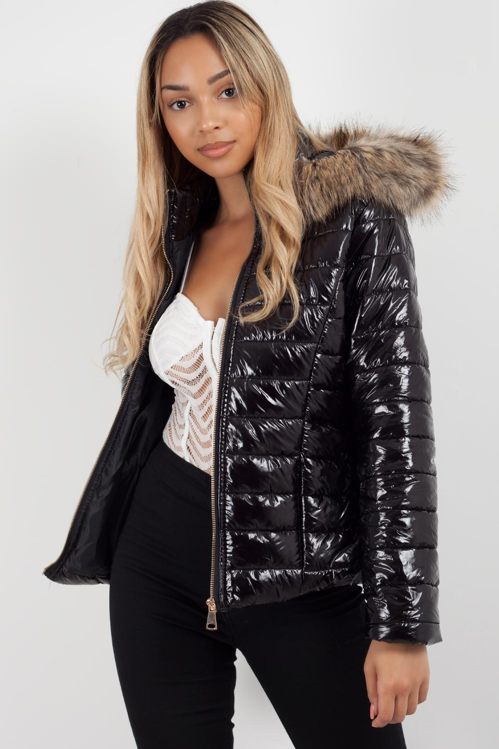puffer jacket with fur hood womens sale