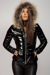 black wet look coat on sale