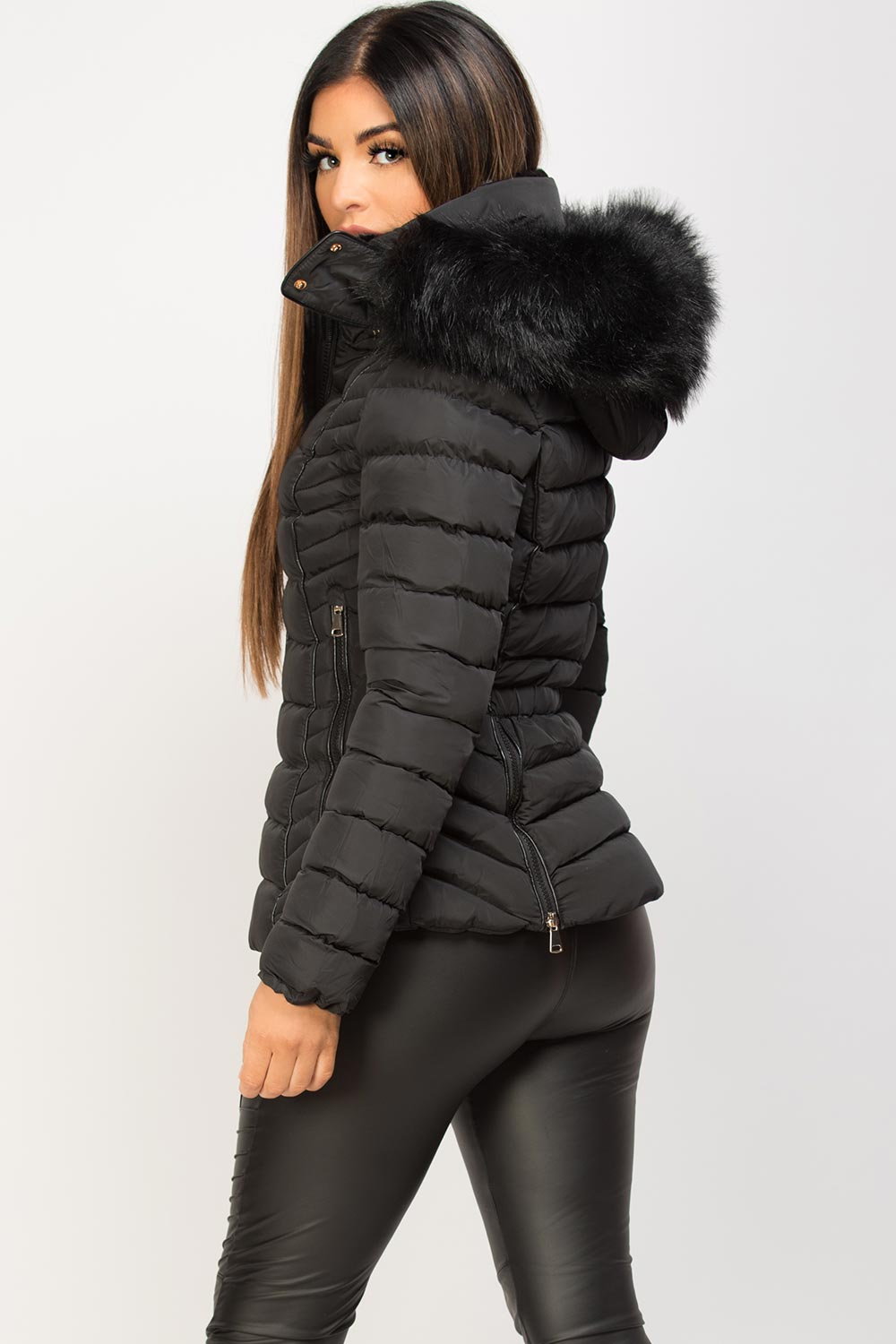 black puffer jacket with faux fur hood
