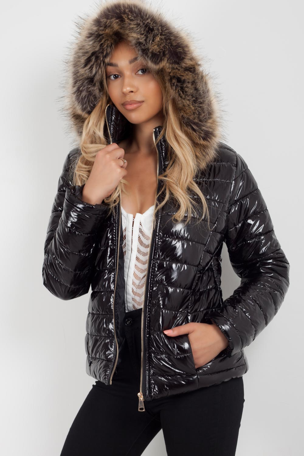 puffer coat womens black
