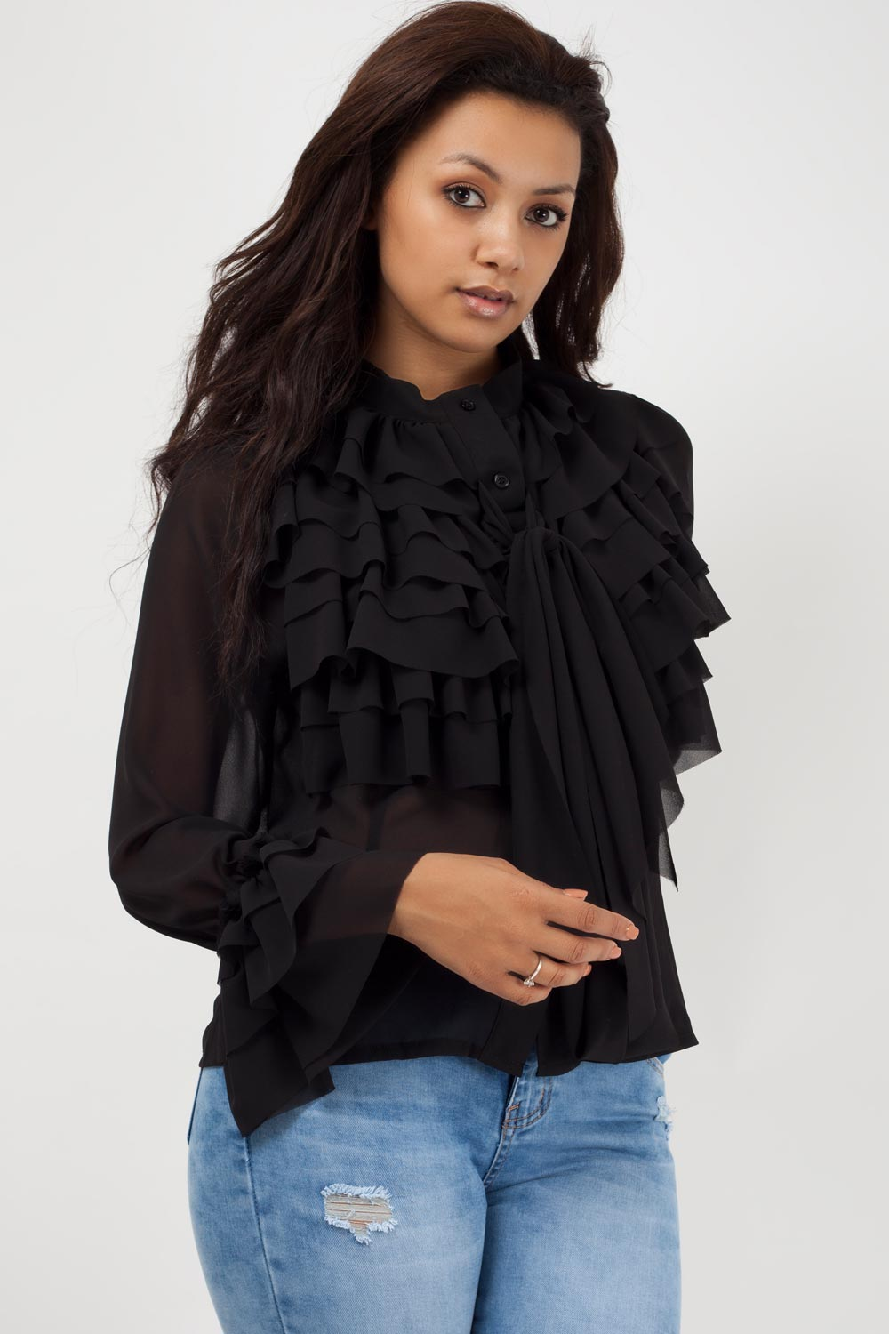 black ruffle top long sleeve uk styledup fashion