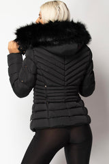 womens black puffer coat with fur hood