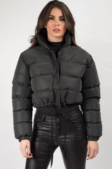 black reflective puffer jacket womens