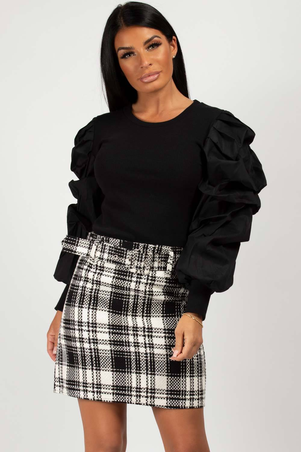 black ruched puff sleeve top
