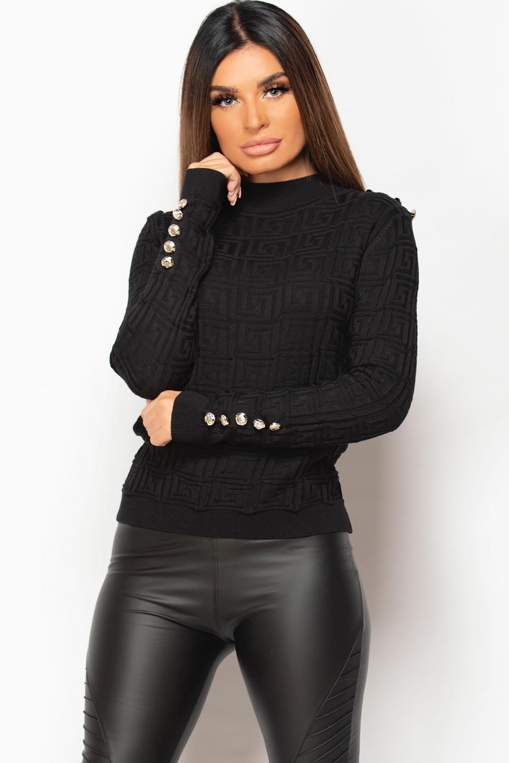 black ribbed jumper with gold button detail