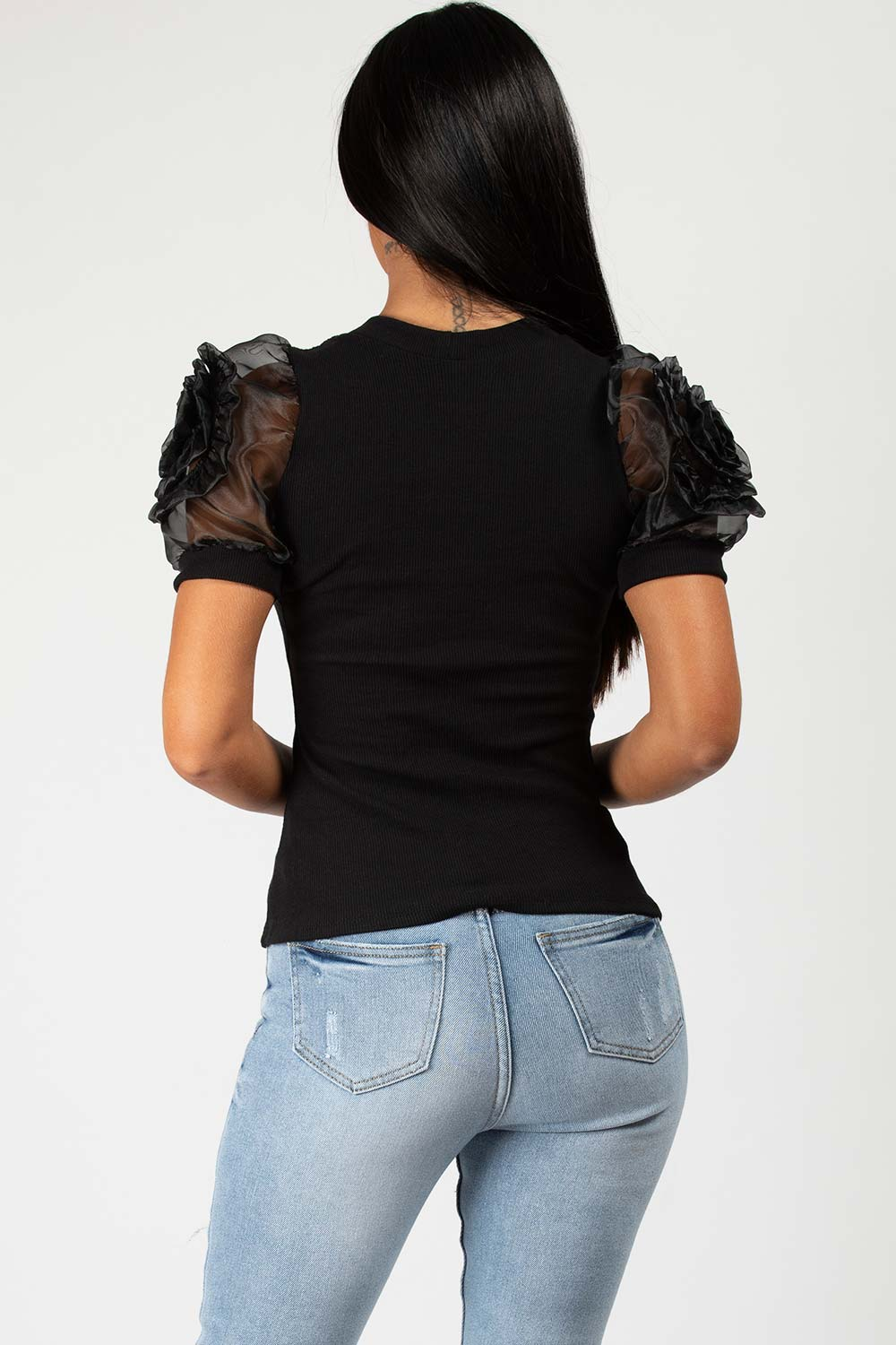 black ribbed rose shoulder top